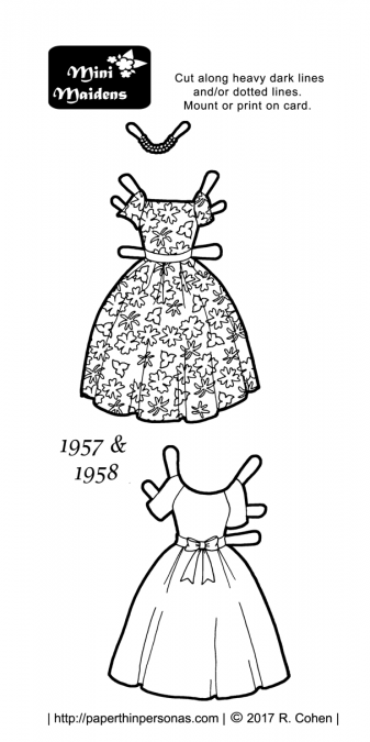A pair of black and white paper doll 1950s cocktail dresses. The top dress is based on a Vogue sewing pattern and the bottom dress is based on an example from the Philadelphia Museum of Art. Both are available to print and color from paperthinpersonas.com.