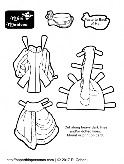 A wintertime steampunk costume paper doll coloring sheet for the Mini-Maidens paper doll series.