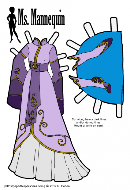 Trying my hand at Lord of the Rings inspired Elven fantasy gowns for paper dolls in purple or black and white for coloring. Free to print for personal use from paperthinpersonas.com.