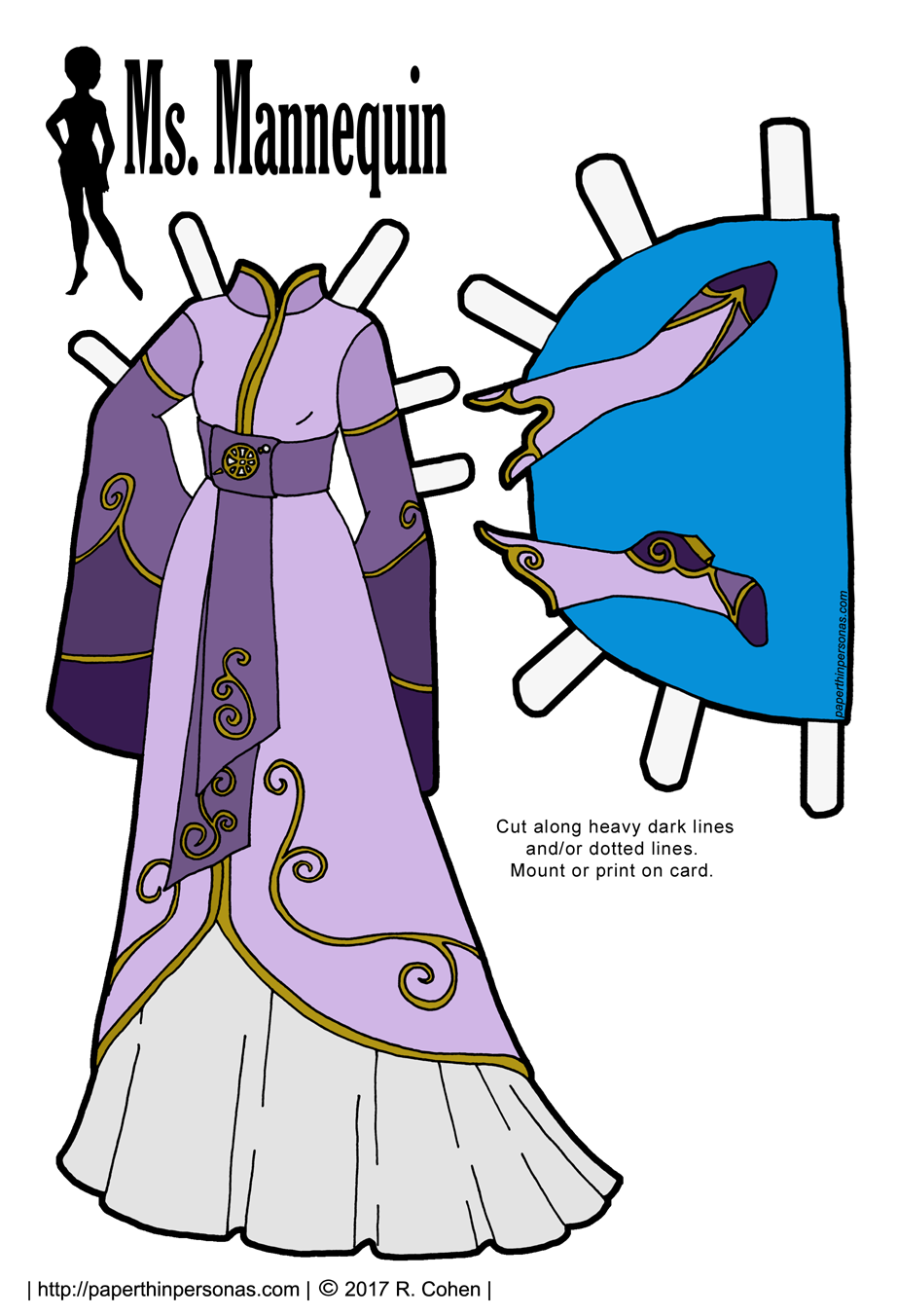 An Elven Fantasy Gown for the Ms. Mannequin Paper Dolls