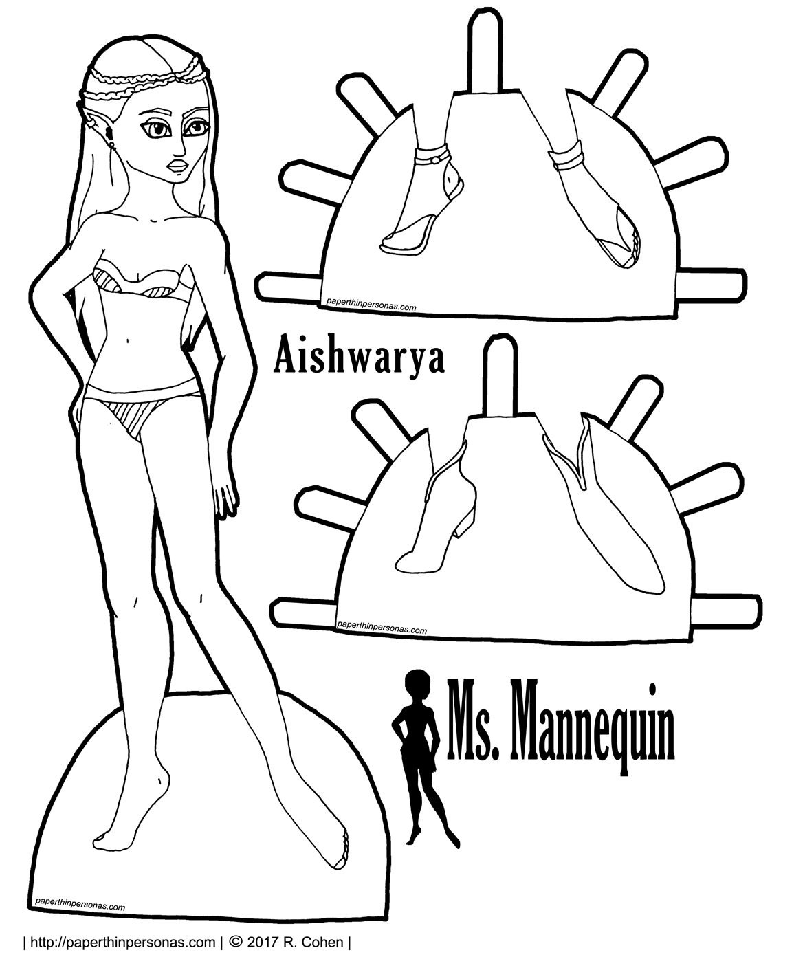 A short haired printable paper doll coloring page who can wear any of the Ms. Mannequin paper doll clothing. Free to print from paperthinpersonas.com