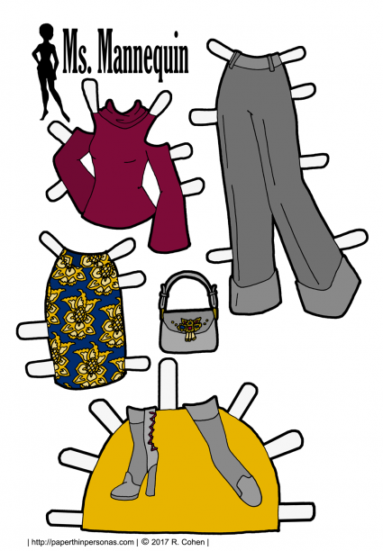 Wide legged trousers, cold shoulder top and a brocade skirt are the latest Fall 2016 fashions. Here they are for the paper dolls in black and white or in full color. Print and play with them from paperthinpersonas.com.