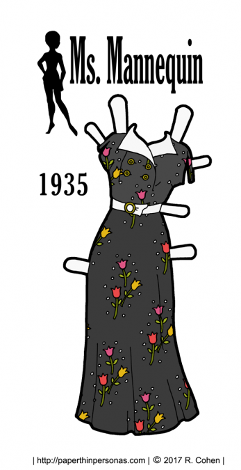 A summery paper doll dress from 1935 based on pattern covers and vintage fabric swatches. Available in color or black and white for coloring.