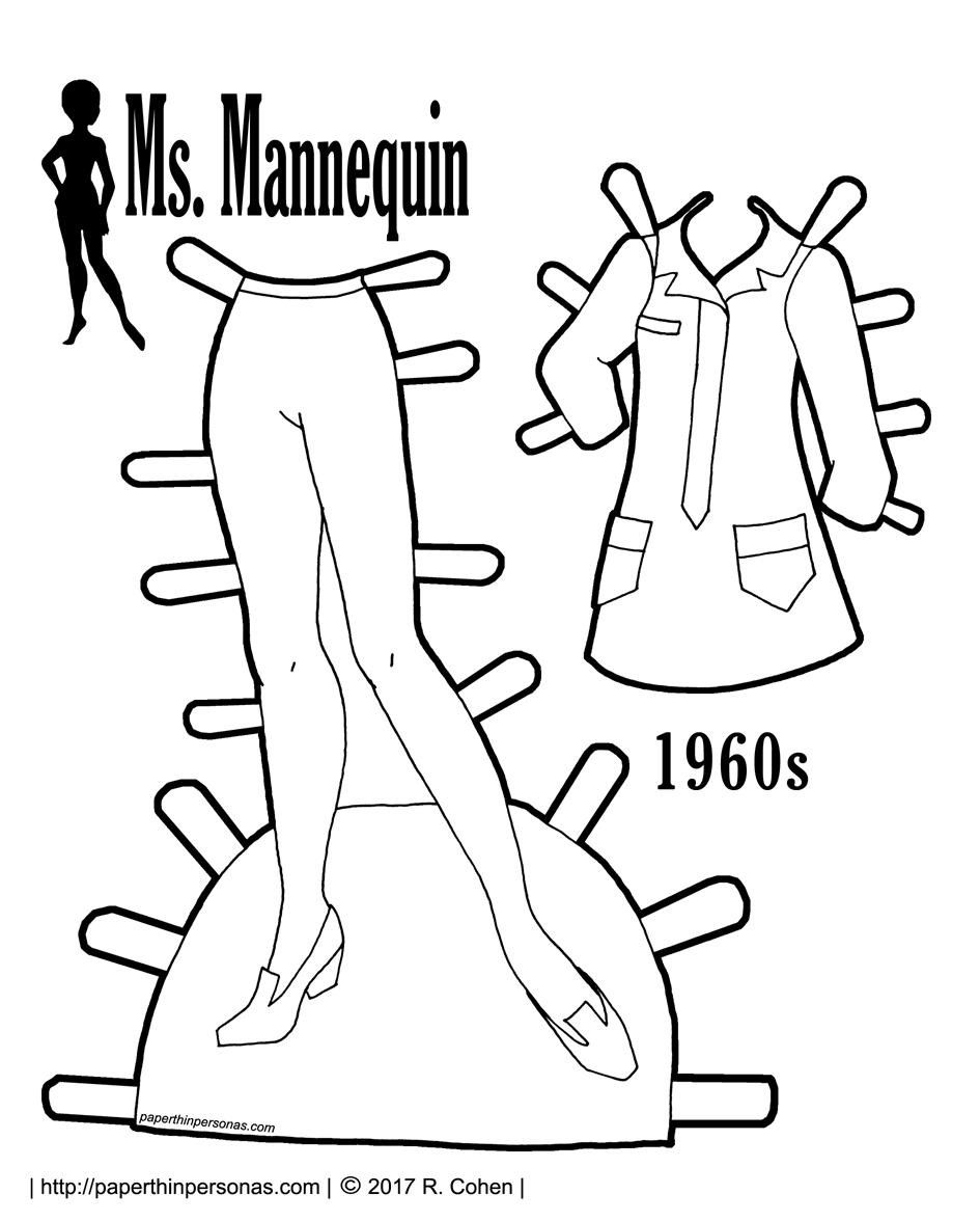 A paper doll foray into 1960s fashion with a mini-shirtdress and tights. Free to print in color or black and white.