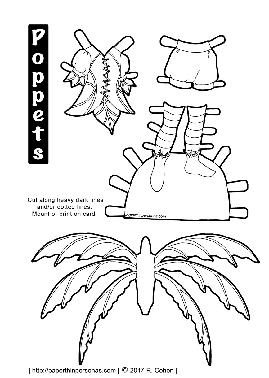 A fairy costume with wings. Free to print in color or black and white.