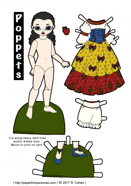 A Snow White paper doll printable with a dress, apple and shoes. Free printable in color or black and white from paperthinpersonas.com.