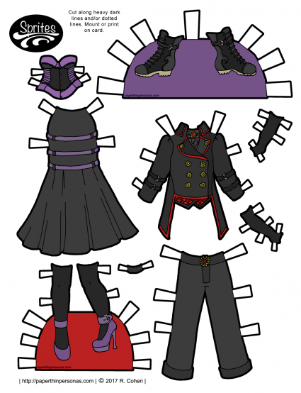 A paper doll page of gothic fashions from the Sprites printable paper dolls in color or black and white. Free to print from paperthinpersonas.com.
