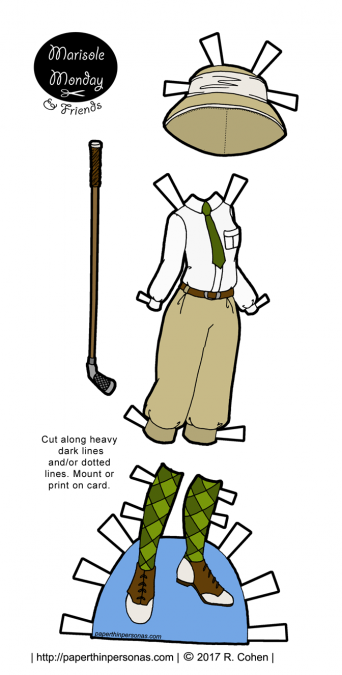 Women's 1920s golf clothes for my Marisole Monday & Friend's paper doll series in full color to print from paperhinpersonas.com.