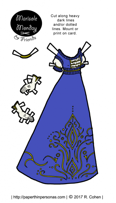 A printable paper doll ball gown inspired by the Victorian era. Free to print in color or black and white.