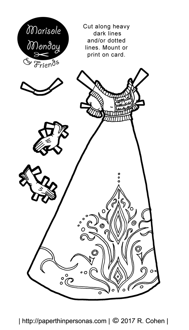 A printable paper doll ball gown coloring page inspired by the Victorian era. Free to print from paperthinpersonas.com