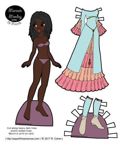 A black printable paper doll with curly hair and her medieval fantasy dress up gown, shoes and stockings. A paper doll to print from paperthinpersonas.com.