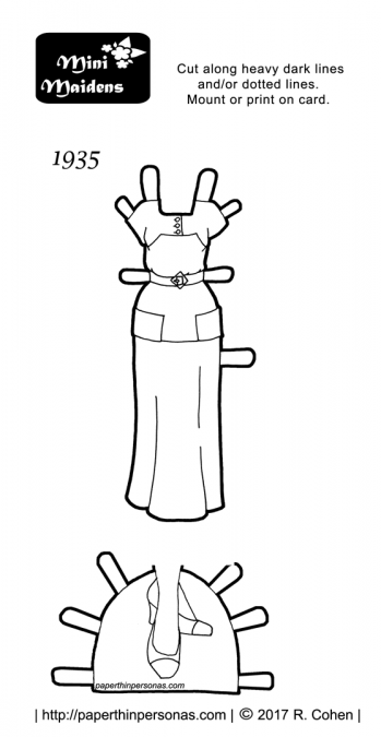 A 1930s dress for the Mini-Maiden printable paper doll series in black and white to print and color for free.