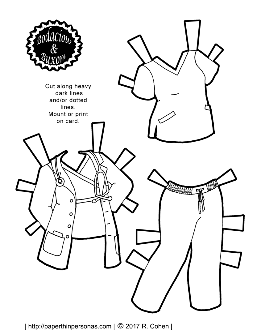 A nurse or doctor paper doll outfit with scrubs and a lab coat. A free printable paper doll coloring page from paperthinpersonas.com
