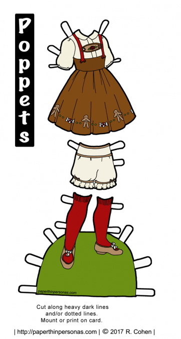A paper doll Gretel costume from the fairy tale Hansel and Gretel featuring a brown jumper, blouse, bloomers and stockings. The paper doll costume can be worn by the Poppets paper doll series.