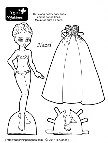 A black paper doll with a natural hair updo and a beautiful evening gown and shoes. A printable paper doll coloring page from paperthinpersonas.com.