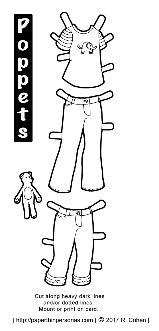Two pairs of paper doll jeans and a t-shirt for the Poppet printable paper doll series from paperthinpersonas.com.