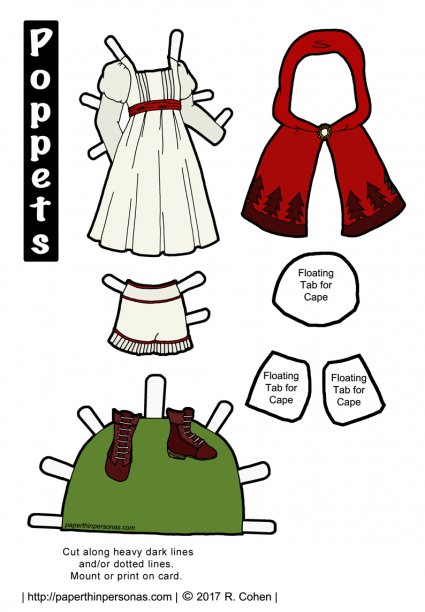 A Little Red Riding Hood paper doll costume to print and play with. One of dozens of fairy tale paper doll designs from paperthinpersonas.com.