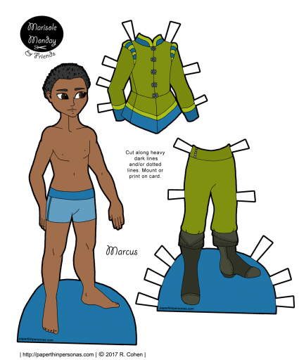 A princely African-American paper doll with a Tudor inspired suit. Free to print from paperthinpersonas.com and he has lots of other clothing options too.