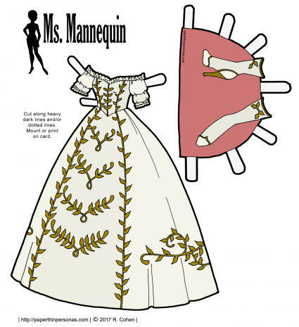 A paper doll ball gown of white trimmed in gold. The boots are gold and white. Free printable paper doll ball gown in color or black and white.