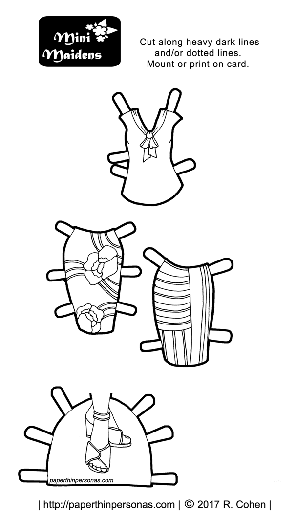 a printable paper doll coloring page of a pair of pencil skirts and a blouse from