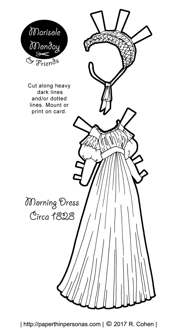 An 1820s morning dress for the Marisole Monday & Friends printable paper doll series from paperthinpersonas.com. Free to print and play with.