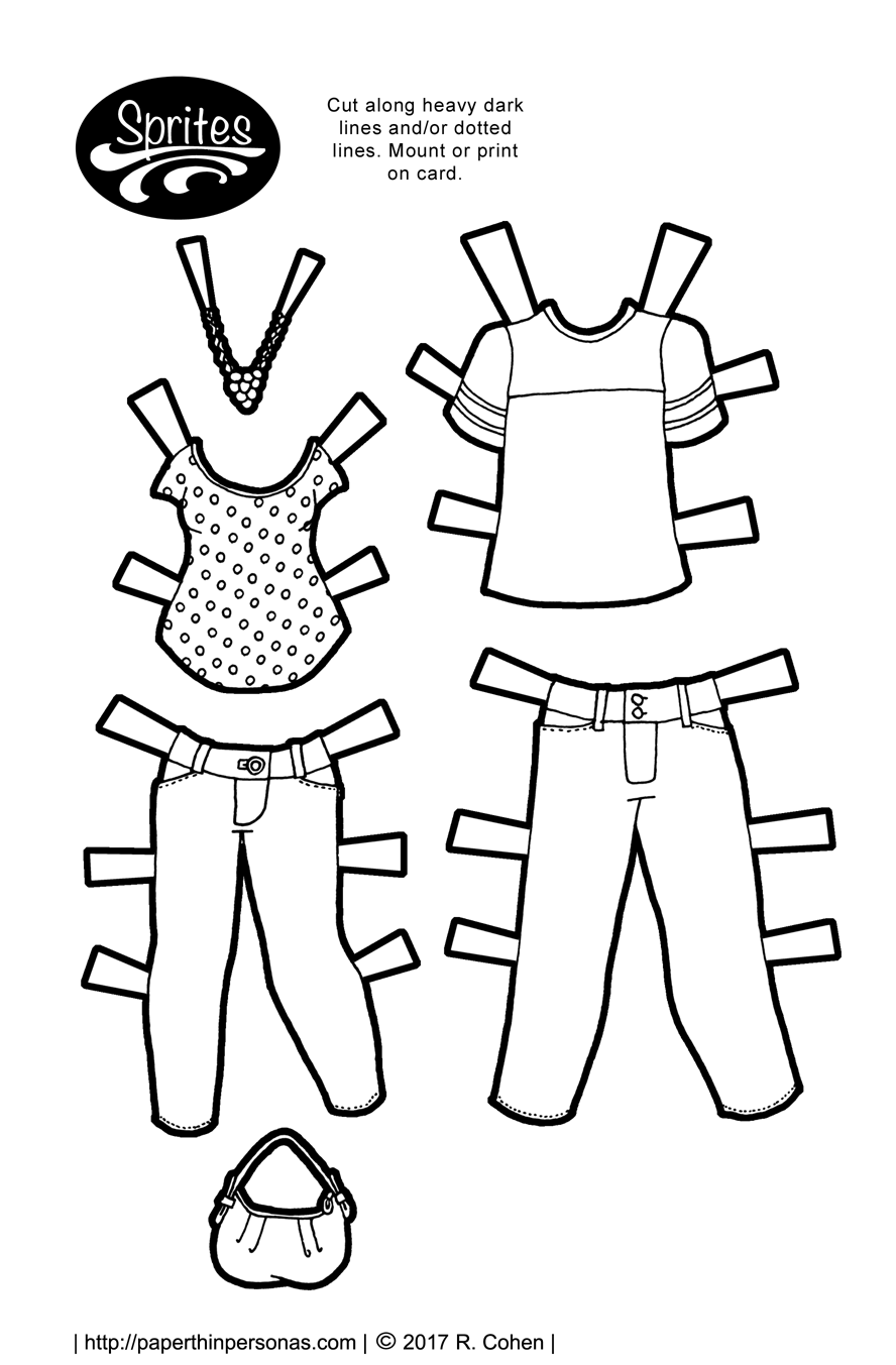 A pair of jeans and two t-shirts for the Sprites printable paper doll clothing series. Free to print and color from paperthinpersonas.com.