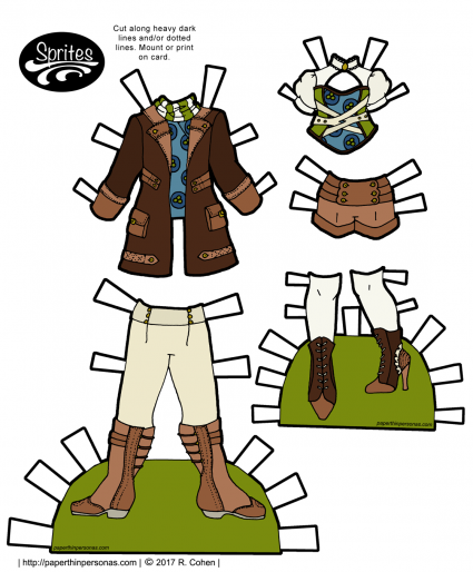 Paper doll steampunk clothing designs for the Sprites paper doll series. Free to print in color or black and white from paperthinpersonas.com