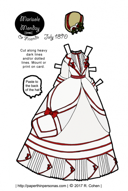 A beautiful Victorian printable paper doll bustle dress based on a dress from 1870. Free to print in color or black and white from paperthinpersonas.com.