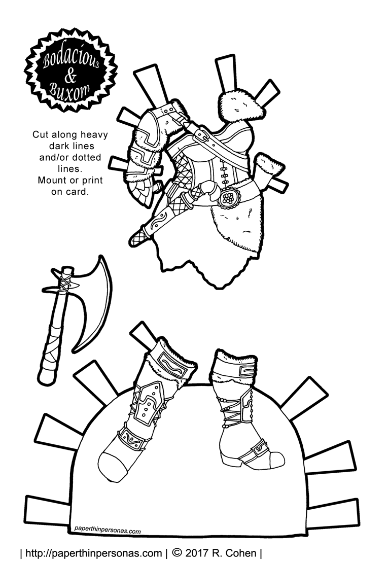 Wildly impractical Viking inspired armor with an axe and boots for a printable paper doll coloring page from paperthinpersonas.com