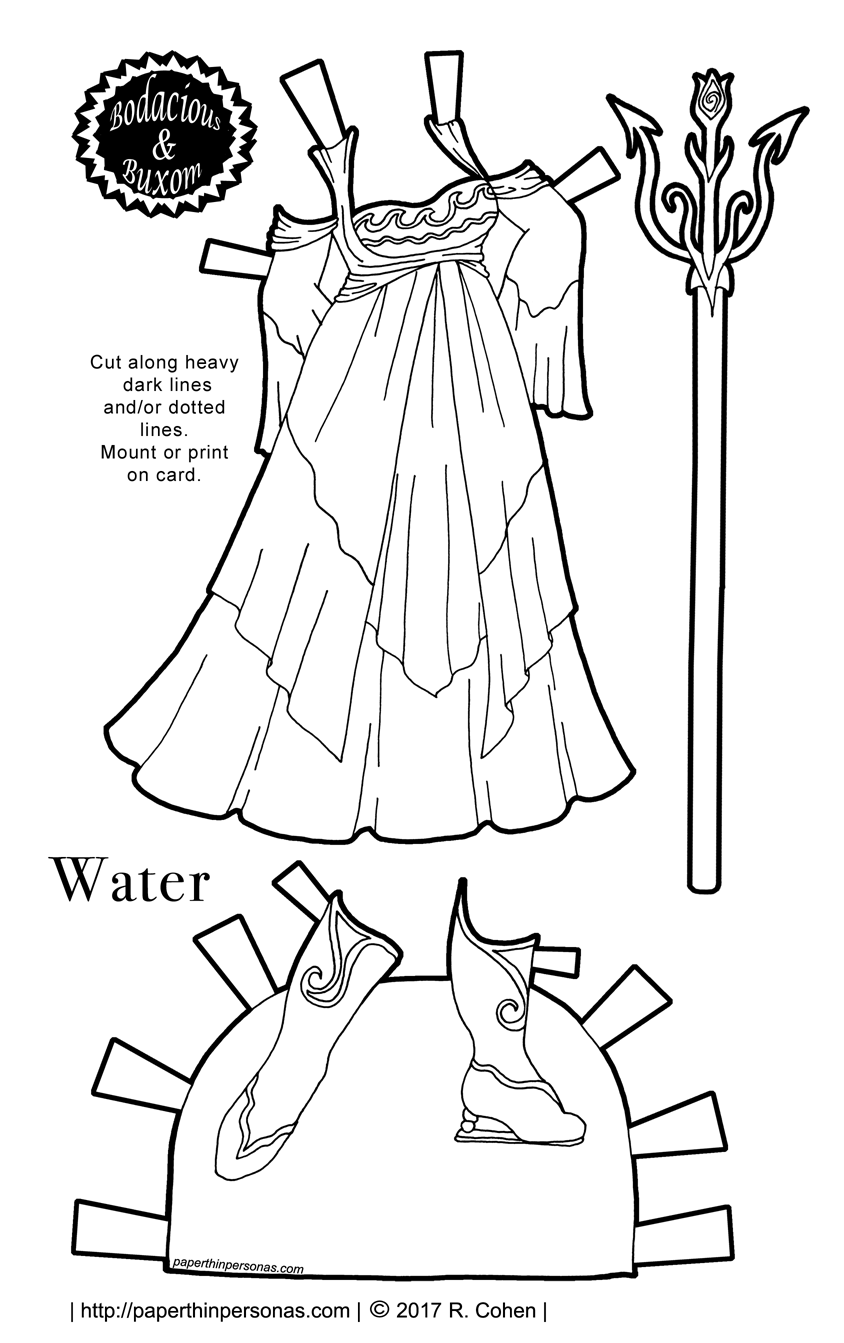 A water based fantasy gown for the curvy B&B printable paper doll series. Part of the Sorceress Gown Collection.
