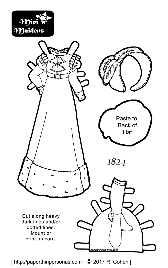 a beautiful paper doll coloring page with an 1824 winter walking dress and boots free
