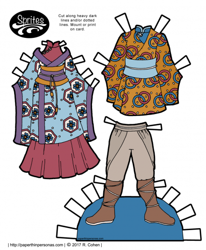 A pair of fantasy outfits for the Sprites printable paper doll series based on qiapo and kimono. Free to print in color or black and white from paperthinpersonas.com.