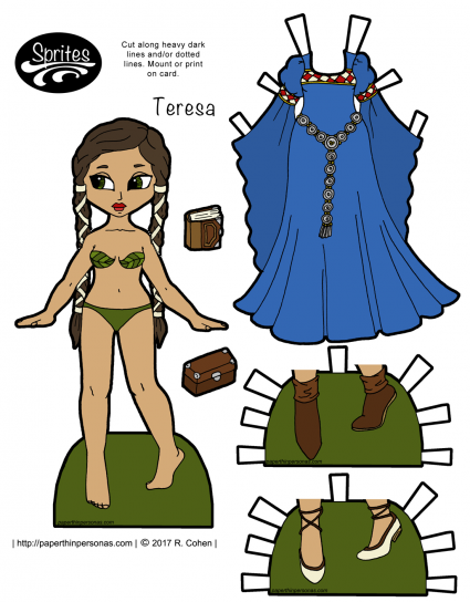 A latina fantasy paper doll based on clothing from the 12th century with a bliaut, shoes and long long braids. Print her from paperthinpersonas.com.
