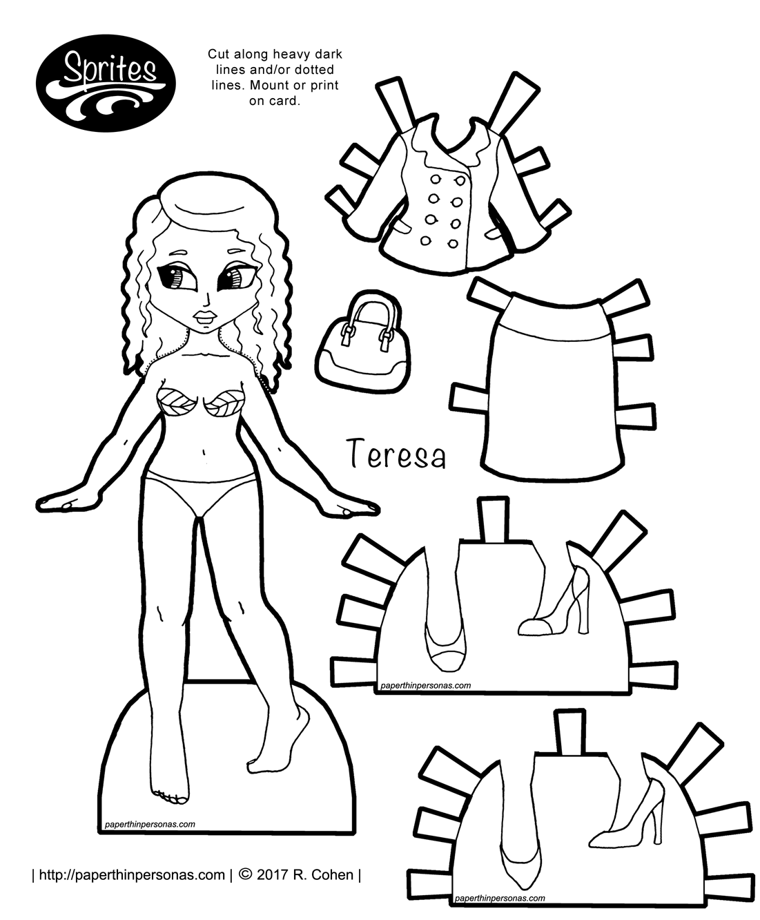 A latina fantasy paper doll based on clothing from the 12th century with a bliaut, shoes and long long braids. Print and color her from paperthinpersonas.com