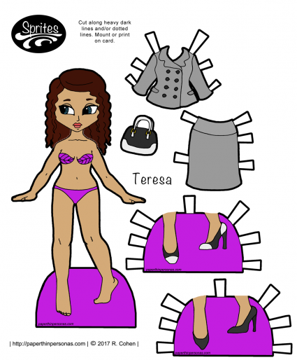 A printable Latina paper doll with a grey suit named Teresa and two pairs of shoes. Part of the Sprites printable paper doll series she can wear any of the ladies Sprite paper doll clothing.