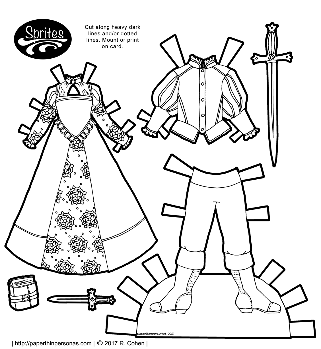 A pair of fantasy paper doll outfits based on Tudor Era dress to color and play with. Free to print and color from paperthinpersonas.com.