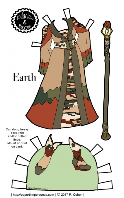 A paper doll fantasy sorceress gown inspired by the element Earth for the B&B curvy printable paper doll series from paperthinpersonas.com.