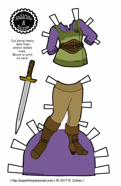A paper doll adventuring outfit with a belted tunic over a shirt, leggings and boots. She also has a sword.