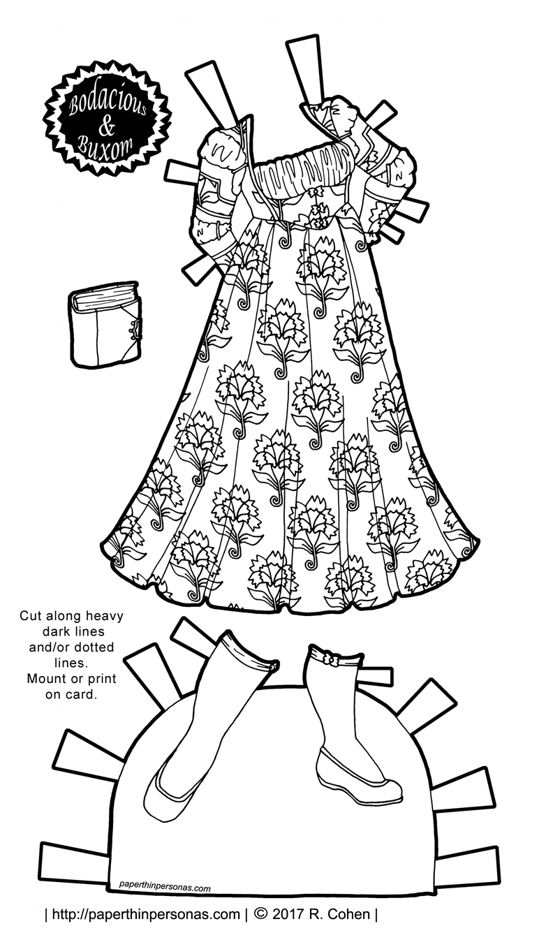 Paper doll clothing for the curvy B&B series with boots and a dress based on contemporary fashions. Free to print and color from paperthinpersonas.com.