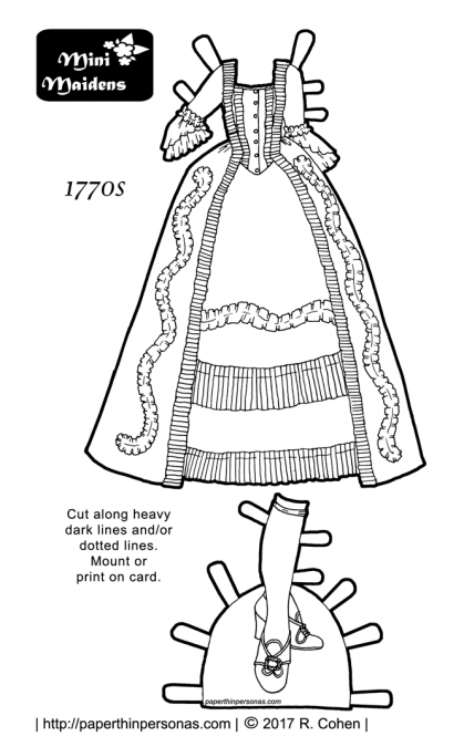 A paper doll dress based on the designs of the 1770s. The dress has matching shoes and stockings. It is black and white for coloring and fits the Mini-Maiden paper dolls.