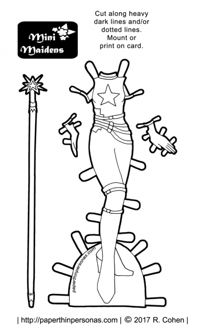 A paper doll superhero costume coloring page for the Mini-Maiden paper doll series from paperthinpersonas.com.