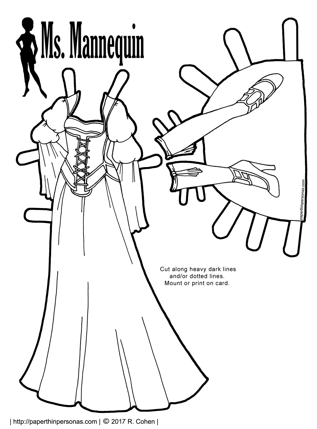 An elegant medieval inspired fantasy gown with stockings and shoes for the Ms. Mannequin printable paper doll series from paperthinpersonas.com. The gown has double puffed sleeves, a long skirt and a corset over top of it which is accented in piping. The shoes are multi-strapped high heels with stockings and garters.