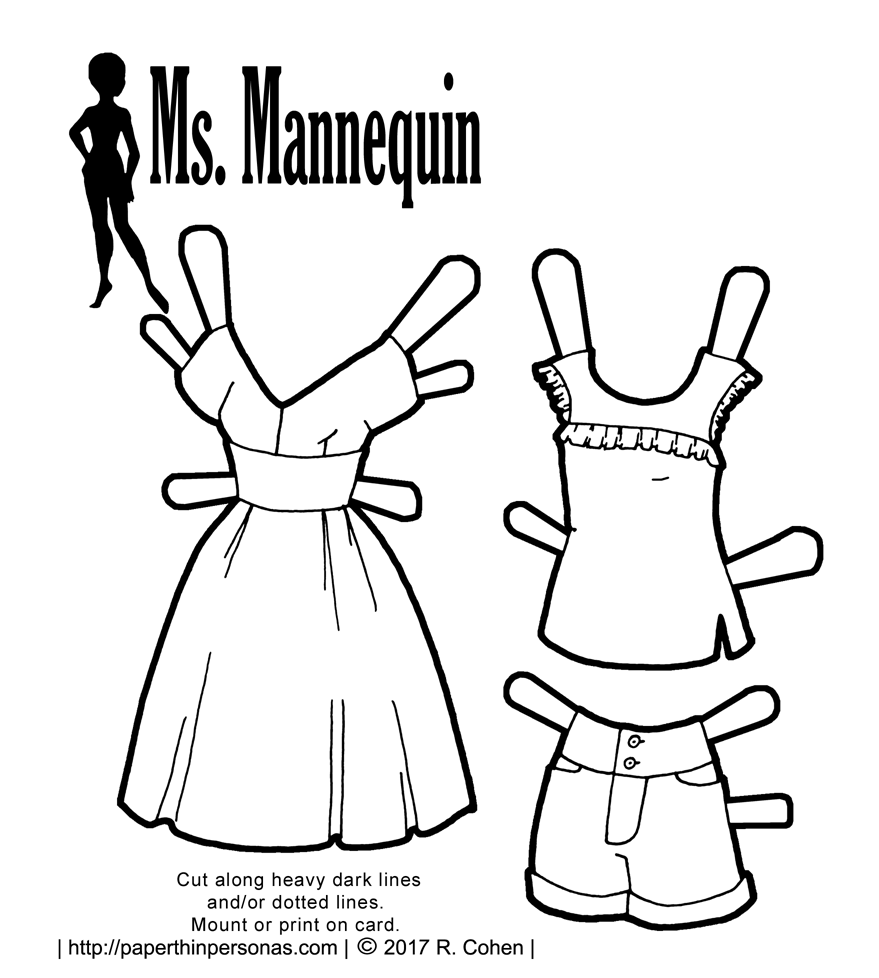 A set of summery paper doll fashions with shorts, a sundress and blouse to print and color.