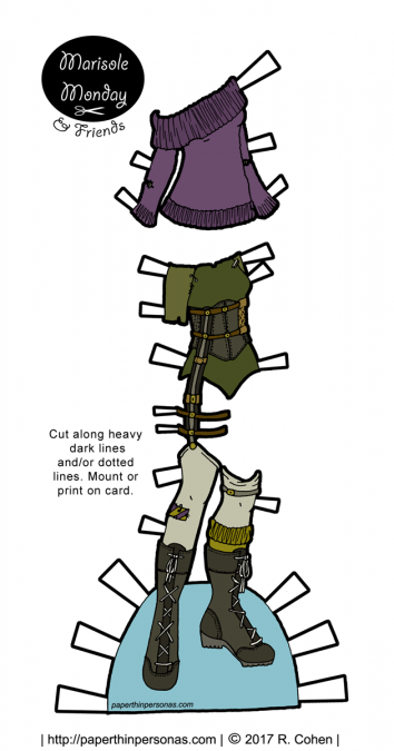 Paper doll post-apocalyptic fashion with boots, stockings and a sweater for the Marisole Monday and Friends printable paper doll series from paperthinpersonas.com.