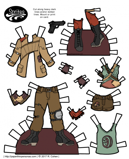 A set of post-apocalyptic fashions for paper doll inspired by all things end of the world. Designed to fit the Sprites paper doll series from paperthinpersonas.com.