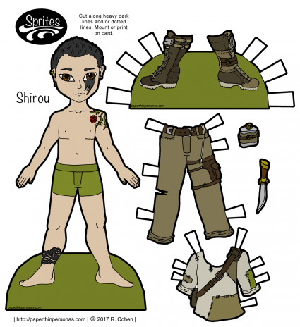 A post-apocalyptic printable paper doll guy with boots, pants and a shirt, plus tattoos and a canteen. One of hundreds of paper doll designs from paperthinperosnas.com.