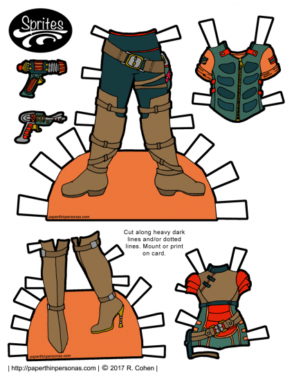 Space pirate printable paper doll outfits from paperthinpersonas.com with ray-guns and tall boots.