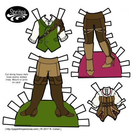 Steampunk paper doll fashions for men and women designed for the Sprites paper doll collection on paperthinpersonas.com. One of hundreds of free paper dolls to print and play with.