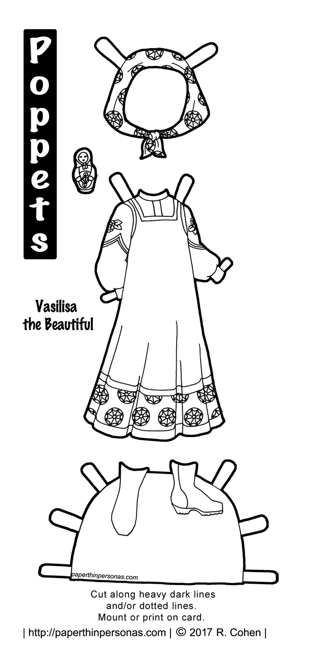 A printable paper doll costume for Vasilisa the Beautiful fairy tale. The traditional Russian outfit includes a sarafan and blouse with a headscarf and boots. She even has a tiny matryoshka doll. Color her anyway you like.