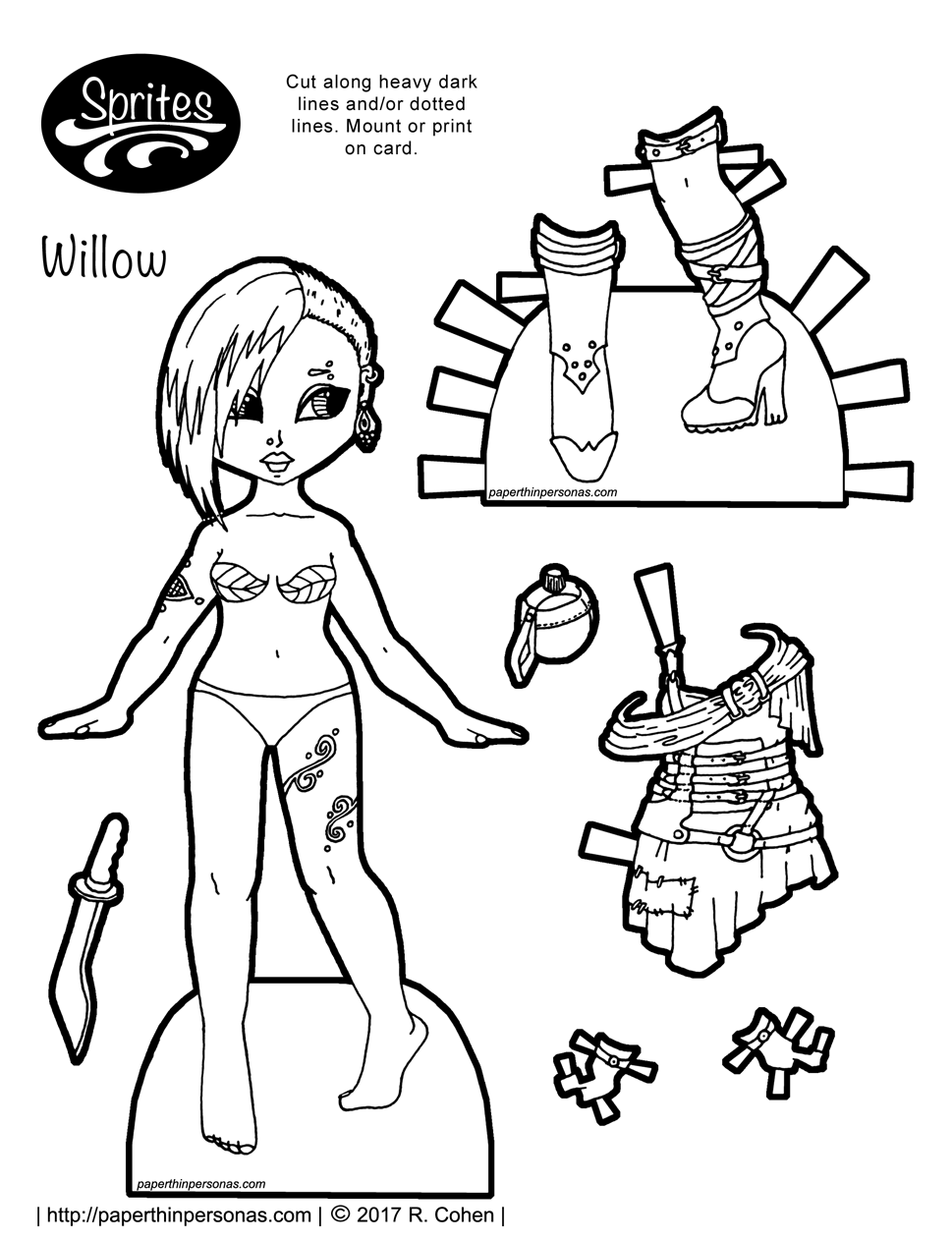 A post-apocalyptic fashion printable paper doll with a dress, boots and tattoos. Free to print, color, and play with from paperthinpersonas.com.